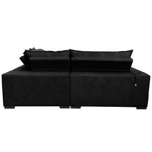 Sofá de Canto Retrátil, Reclinável, Molas Cama inBox Oklahoma 2,40m x 2,40m Suede Velusoft Preto