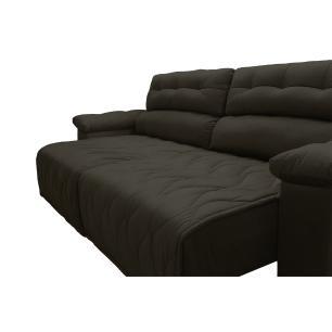 Sofá 2,62m Retrátil e Reclinável com Molas Cama inBox Top Tecido Suede Velusoft Café