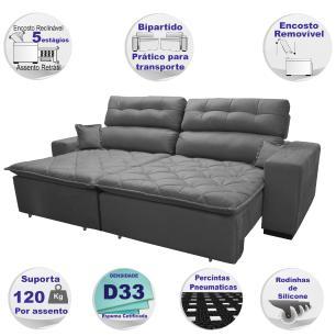 Sofá 2,32m Retrátil e Reclinável com Molas Cama inBox Confort Tecido Suede Velusoft Cinza