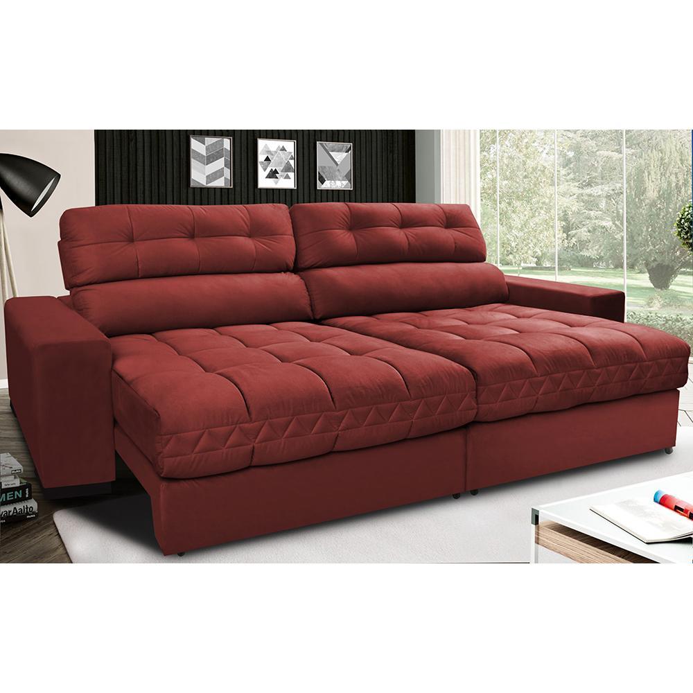 Sofá Retrátil e Reclinável com Molas Ensacadas Cama inBox Master 2,52m Tecido Suede Vermelho