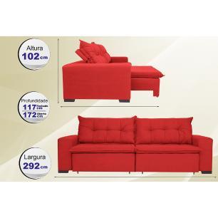 Sofá Austrália 2,72 Mts Retrátil, Reclinável Com Molas e Pillow no Assento Tecido Suede Vermelho- Cama InBox