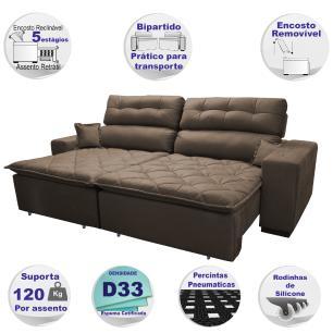 Sofá 2,12m Retrátil e Reclinável com Molas Cama inBox Confort Tecido Suede Velusoft Café