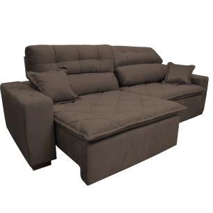 Sofá 3,02m Retrátil e Reclinável com Molas Cama inBox Confort Tecido Suede Velusoft Café