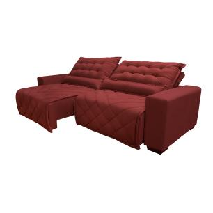 Sofá 2,12m Retrátil e Reclinável com Molas Cama inBox Plus Tecido Suede Velusoft Vermelho