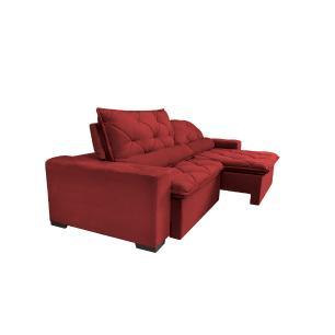 Sofá Lisboa 2,92m Retrátil, Reclinável, Molas no Assento Tecido Suede Velusoft Vermelho - Cama InBox