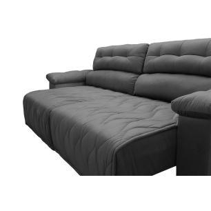 Sofá 2,72m Retrátil e Reclinável com Molas Cama inBox Top Tecido Suede Velusoft Cinza