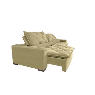 Sofá Magnum 2,62m Retrátil, Reclinável com Molas no Assento e Almofadas Lombar Tecido Suede Velusoft Bege - Cama InBox