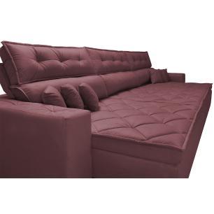 Sofá Austin 3,22m Retrátil, Reclinável com Molas no Assento e Almofadas, Tecido Suede Vinho