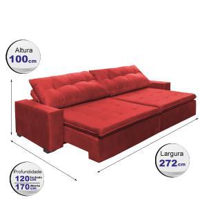 Sofá Retrátil e Reclinavel Oklahoma 2,72 Mts Com Molas e Pillow no Assento Tecido Suede Vermelho - Cama InBox