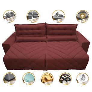 Sofá 2,42m Retrátil e Reclinável com Molas Cama inBox Plus Tecido Suede Velusoft Vermelho
