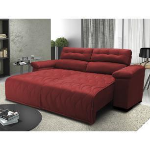 Sofá 2,02m Retrátil e Reclinável com Molas Cama inBox Top Tecido Suede Velusoft Vermelho