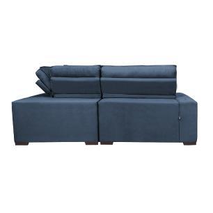 Sofa de Canto Retrátil e Reclinável com Molas Cama inBox Austin 2,30m x 2,30m Suede Velusoft Azul
