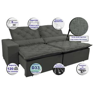 Sofá Magnum 2,02m Retrátil, Reclinável com Molas no Assento e Almofadas Lombar Tecido Suede Velusoft Grafite - Cama InBox