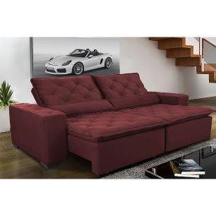 Sofá Magnum 2,42m Retrátil, Reclinável com Molas no Assento e Almofadas Lombar Tecido Suede Velusoft Vinho - Cama InBox