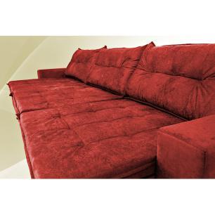 Sofá Austrália 3,82 Mts Retrátil, Reclinável Com Molas e Pillow no Assento Tecido Suede Vermelho- Cama InBox