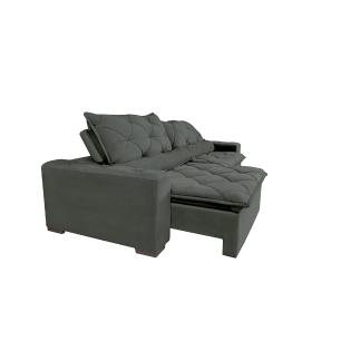 Sofá Magnum 2,62m Retrátil, Reclinável com Molas no Assento e Almofadas Lombar Tecido Suede Velusoft Grafite - Cama InBox