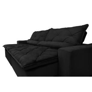 Sofá Magnum 2,22m Retrátil, Reclinável com Molas no Assento e Almofadas Lombar Tecido Suede Velusoft Preto - Cama InBox