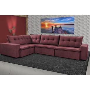 Sofa de Canto Retrátil e Reclinável com Molas Cama inBox Oklahoma 3,45X2,41 ou 2,41X3,45 Vinho