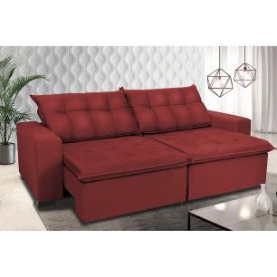 Sofá Retrátil e Reclinavel Oklahoma 2,32 Mts Com Molas e Pillow no Assento Tecido Suede Vermelho - Cama InBox