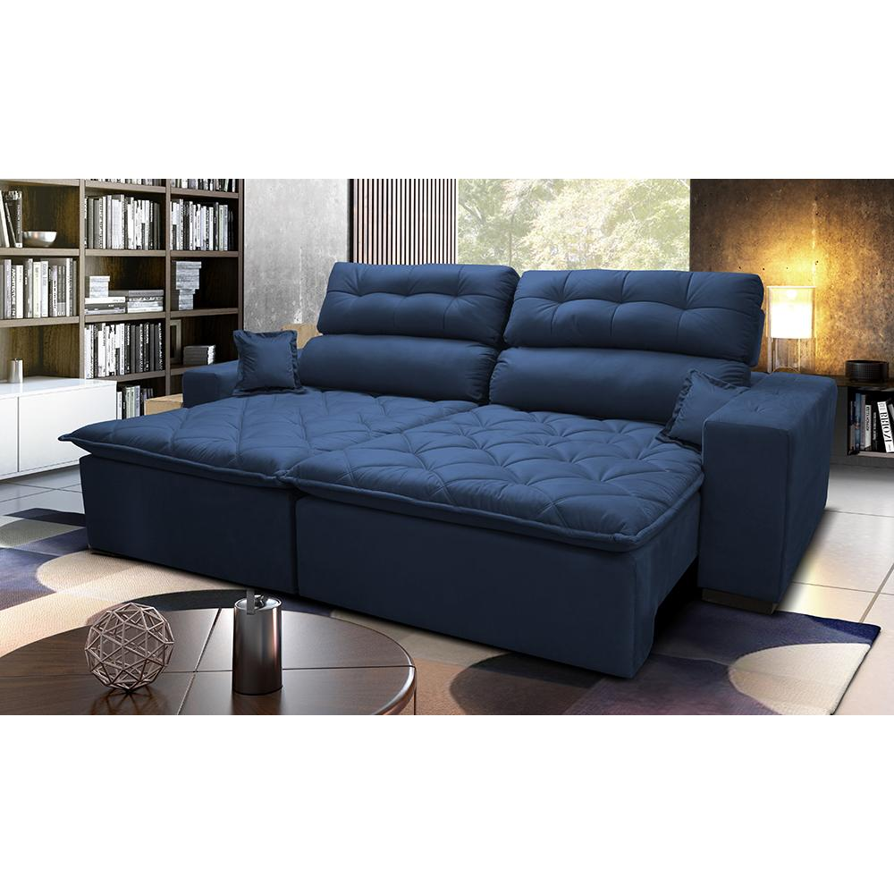 Sofá 2,92m Retrátil e Reclinável com Molas Cama inBox Confort Tecido Suede Velusoft Azul