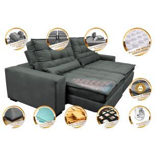 Sofá Retrátil e Reclinável com Molas Ensacadas Cama inBox Gold 2,72m Tecido Suede Velusoft Cinza
