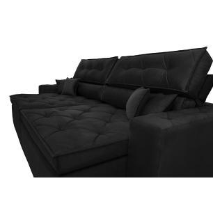 Sofá Austin 2,42m Retrátil, Reclinável com Molas no Assento e Almofadas, Tecido Suede Preto