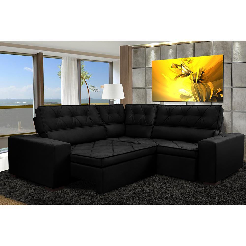 Sofá de Canto Retrátil, Reclinável, Molas Cama inBox Austin 2,60m x 2,60m Suede Velusoft Preto