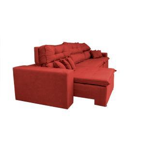 Sofá Cairo 3,52m Retrátil, Reclinável Tecido Suede Vermelho