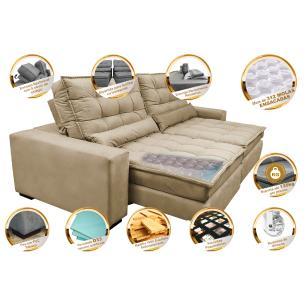 Sofá Retrátil e Reclinável com Molas Ensacadas Cama inBox Gold 2,92m Tecido Suede Velusoft Bege