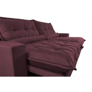 Sofa Retrátil e Reclinável 2,52m com Molas Ensacadas Cama inBox Soft Tecido Suede Vinho