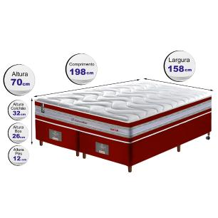 Conjunto Cama Box Queen de Molas Ensacadas D33 Cama inBox Select Firme 158x198x71 Vermelho