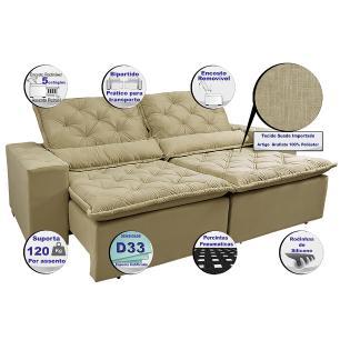 Sofá Magnum 2,42m Retrátil, Reclinável com Molas no Assento e Almofadas Lombar Tecido Suede Velusoft Bege - Cama InBox