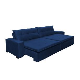 Sofá Retrátil e Reclinavel Oklahoma 2,22m Com Molas e Pillow no Assento Tecido Suede Azul - Cama InBox