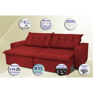 Sofá Austrália 2,12 Mts Retrátil, Reclinável Com Molas e Pillow no Assento Tecido Suede Vermelho- Cama InBox