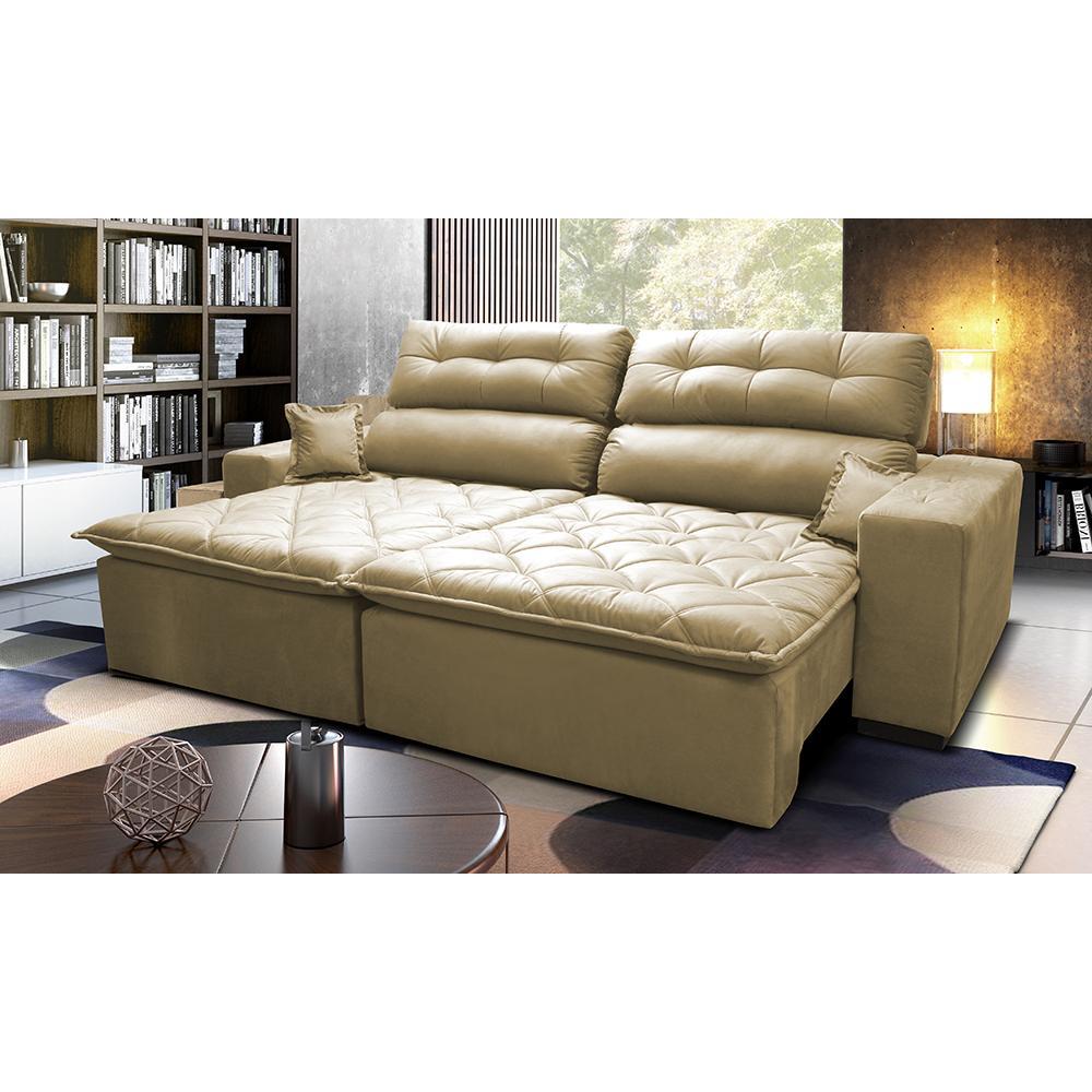 Sofá 2,12m Retrátil e Reclinável com Molas Cama inBox Confort Tecido Suede Velusoft Bege
