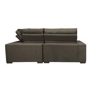 Sofa de Canto Retrátil e Reclinável com Molas Cama inBox Austin 2,30m x 2,30m Suede Velusoft Café