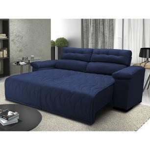 Sofá 2,22m Retrátil e Reclinável com Molas Cama inBox Top Tecido Suede Velusoft Azul