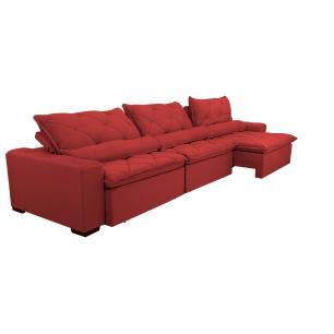 Sofá Lisboa 3,52m Retrátil, Reclinável, Molas no Assento e Almofadas Lombar Tecido Suede Vermelho
