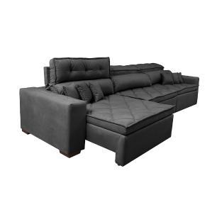 Sofá Retrátil e Reclinável 4,12m Austin com Molas no Assento Tecido Suede Velusoft Preto