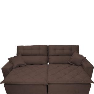 Sofá 2,92m Retrátil e Reclinável com Molas Cama inBox Confort Tecido Suede Velusoft Café