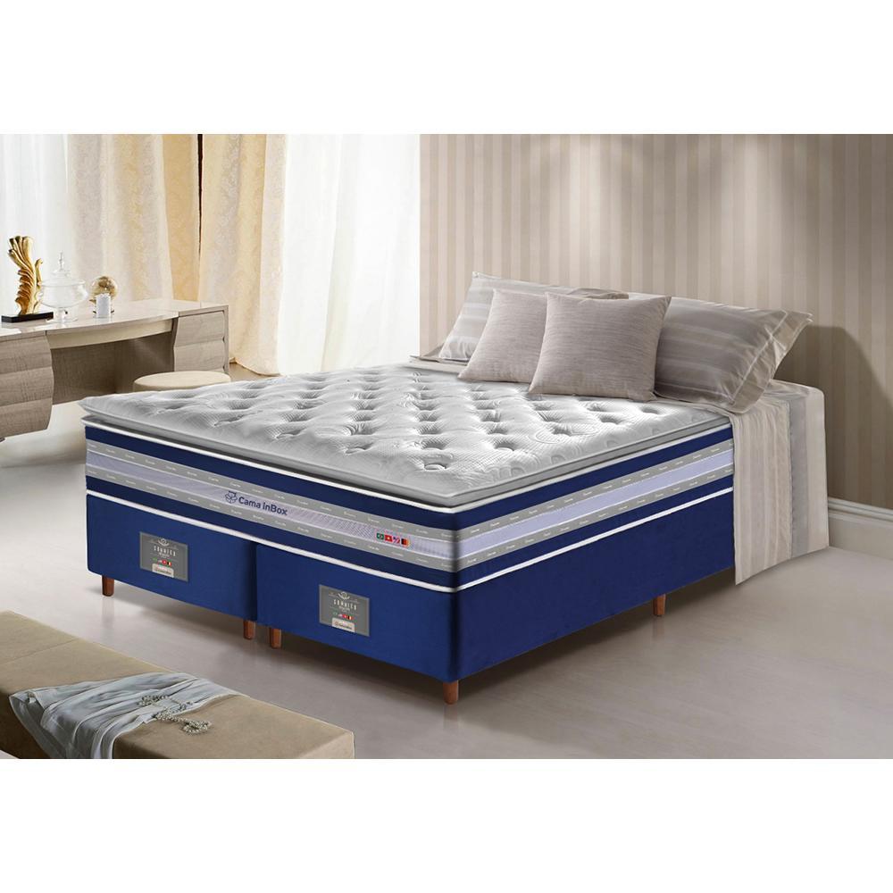 Conjunto Cama Box King de Molas Ensacadas D33 com Pillow TOP Cama inBox Select 193x203x71 Azul