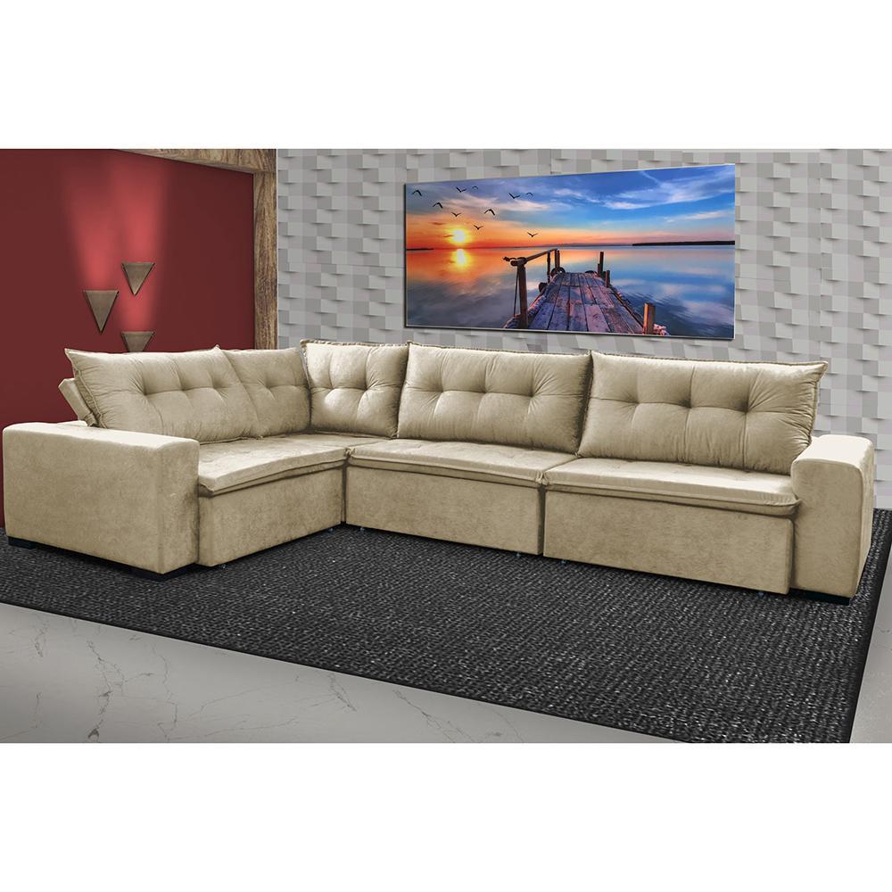 Sofa de Canto Retrátil e Reclinável com Molas Cama inBox Oklahoma 3,65X2,51 ou 2,51X3,65 Bege