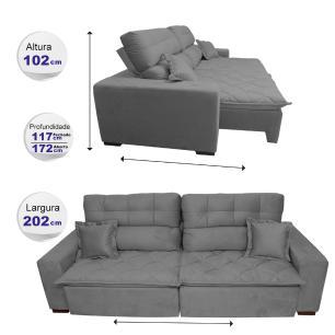 Sofá 2,02m Retrátil e Reclinável com Molas Cama inBox Confort Tecido Suede Velusoft Cinza