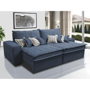 Sofá Retrátil e Reclinável 2,12m com Molas Ensacadas Cama Inbox Supreme Tecido Suede Velusoft Azul