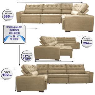 Sofa de Canto Retrátil e Reclinável com Molas Cama inBox Austin 3,65X2,54 ou 2,54X3,65 Suede Velusoft Castor