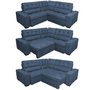 Sofa de Canto Retrátil e Reclinável com Molas Cama inBox Austin 2,40m x 2,40m Suede Velusoft Azul