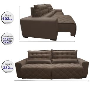 Sofá 2,32m Retrátil e Reclinável com Molas Cama inBox Plus Tecido Suede Velusoft Castor