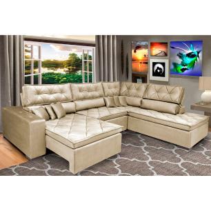 Sofa de Canto Retrátil e Reclinável com Molas Cama inBox Platinum 3,40x2,36 Tecido Suede Bege