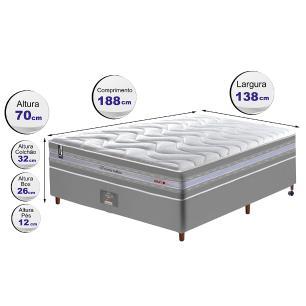 Conjunto Cama Box Casal de Molas Ensacadas D33 Cama inBox Select Firme 138x188x71 Cinza