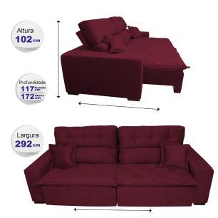 Sofá 2,92m Retrátil e Reclinável com Molas Cama inBox Confort Tecido Suede Velusoft Vinho